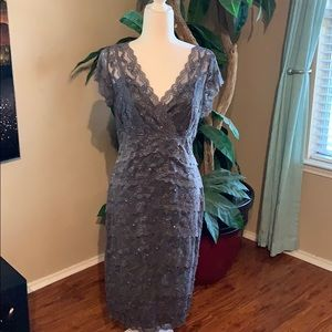 EUC gray sequin and lace dress worn once!